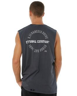 VINTAGE BLACK MENS CLOTHING THRILLS SINGLETS - TA8-133VBVBLK
