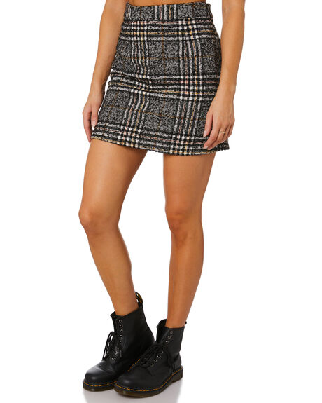 BLACK WOMENS CLOTHING RUSTY SKIRTS - SKL0510BLK