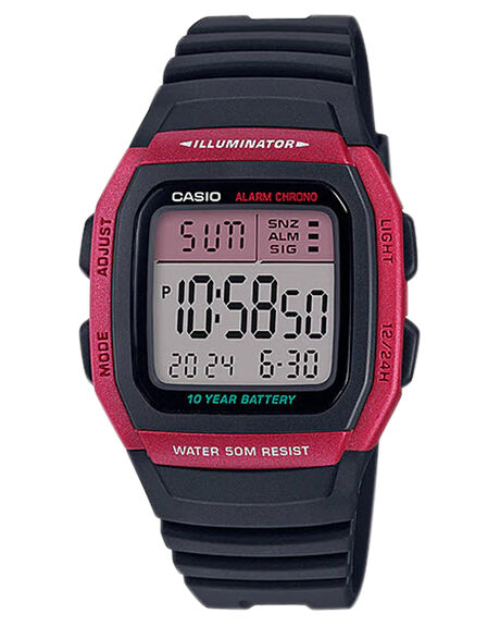 RED MENS ACCESSORIES CASIO WATCHES - W96H-4ARED
