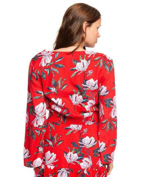 CHINESE RED TROPICAL WOMENS CLOTHING ROXY FASHION TOPS - ERJWT03359-RQQ8