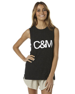 BLACK WOMENS CLOTHING CAMILLA AND MARC SINGLETS - MCMT6515BLK