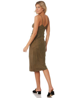 ARMY GREEN WOMENS CLOTHING THRILLS DRESSES - WTW9-910FARMY