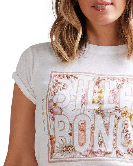 WHITE WOMENS CLOTHING BILLABONG TEES - BB-6517001-WHT