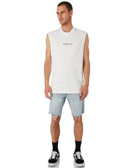WHITE MENS CLOTHING THRILLS SINGLETS - TH9-107AWHT