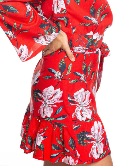 CHINESE RED TROPICAL WOMENS CLOTHING ROXY SKIRTS - ERJWK03071-RQQ8
