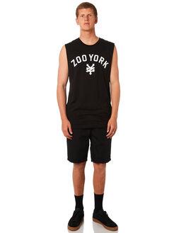 BLACK MENS CLOTHING ZOO YORK SINGLETS - ZY-MTC8195BLK