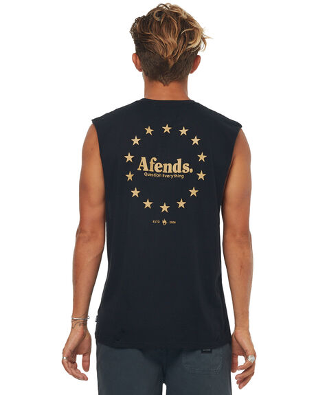BLACK MENS CLOTHING AFENDS SINGLETS - M181083BLK