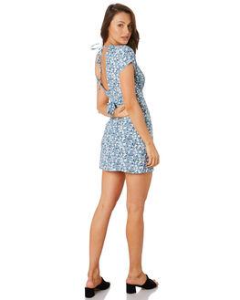 DESERT FLORAL BLUE WOMENS CLOTHING RUE STIIC DRESSES - RWS-19-22-1DSRTB