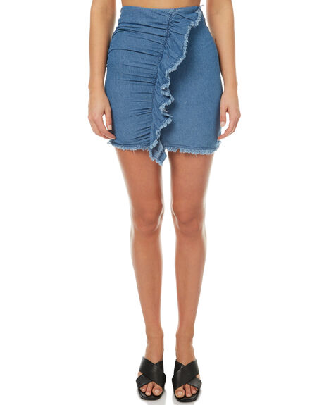WASHED BLUE OUTLET WOMENS THE FIFTH LABEL SKIRTS - 40170826-425