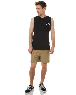 BLACK MENS CLOTHING RUSTY SINGLETS - MSM0230BLK