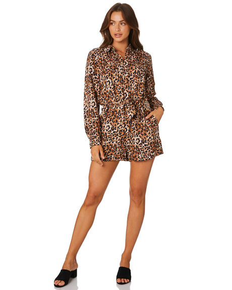 LEOPARD WOMENS CLOTHING TIGERLILY PLAYSUITS + OVERALLS - T305447LEO