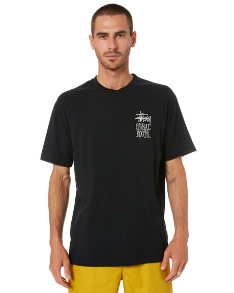 BLACK MENS CLOTHING STUSSY TEES - ST001000BLK