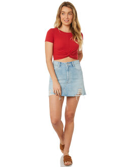 RED WOMENS CLOTHING MINKPINK TEES - MB18X1000RED
