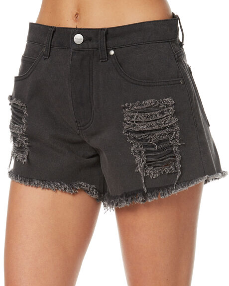 STONE BLACK WOMENS CLOTHING AFENDS SHORTS - 52-01-074SBLK