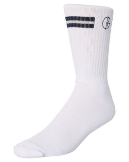 WHITE NAVY MENS CLOTHING POLAR SKATE CO. SOCKS + UNDERWEAR - PSC-STROKE-WHNV