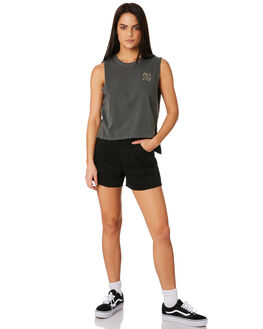 WASHED BLACK WOMENS CLOTHING RVCA SINGLETS - R281668WBK