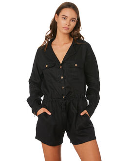 BLACK WOMENS CLOTHING LILYA PLAYSUITS + OVERALLS - LJS01BLK