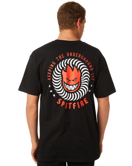 BLACK RED MENS CLOTHING SPITFIRE TEES - KTULBLKR