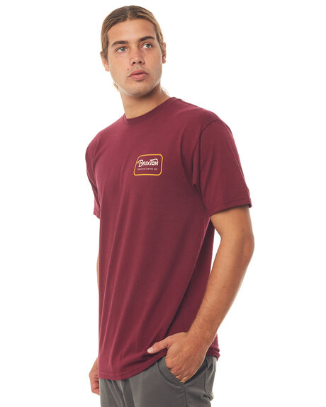 BURGUNDY MENS CLOTHING BRIXTON TEES - 06807BRGDY