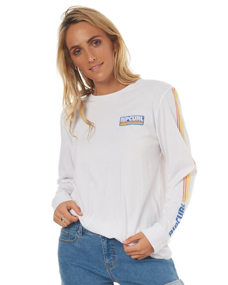 WHITE OUTLET WOMENS RIP CURL TEES - GTEJV8WHT