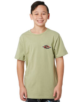 WASHED OLIVE KIDS BOYS RIP CURL TOPS - KTEVH29591