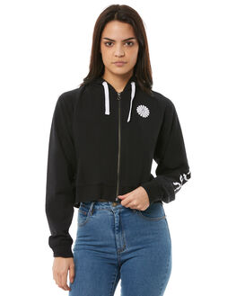 BLACK WOMENS CLOTHING RVCA JUMPERS - R283158BLK
