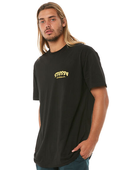 BLACK MENS CLOTHING STUSSY TEES - ST081002BLK