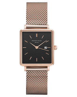 BLACK MESH ROSEGOLD WOMENS ACCESSORIES ROSEFIELD WATCHES - QBMR-Q05BKMRG