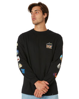 BLACK MENS CLOTHING HUF TEES - TS00564-BLACK