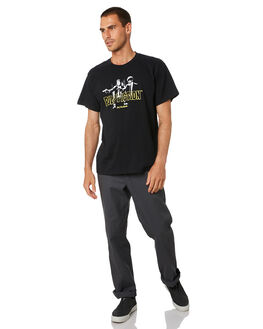 BLACK MENS CLOTHING HUF TEES - TS01313-BLK