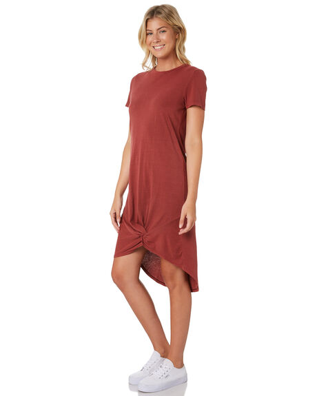 BURGUNDY WOMENS CLOTHING SILENT THEORY DRESSES - 6008016-BURG