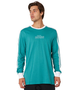 ACTIVE GREEN WHITE MENS CLOTHING ADIDAS TEES - DU8393GRN