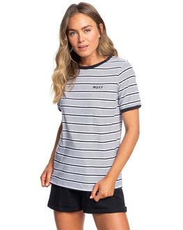 MOOD INDIGO STRIPE WOMENS CLOTHING ROXY TEES - ERJKT03599-BSP3