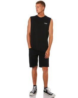 BLACK MENS CLOTHING AFENDS SINGLETS - M184084BLK