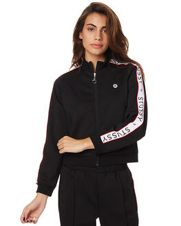 BLACK WOMENS CLOTHING STUSSY JUMPERS - ST175317BLK