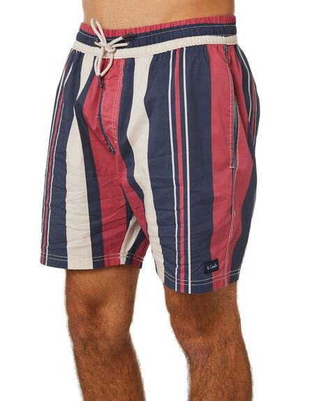 RED VERT STRIPE MENS CLOTHING BARNEY COOLS BOARDSHORTS - 805-Q120RDVS