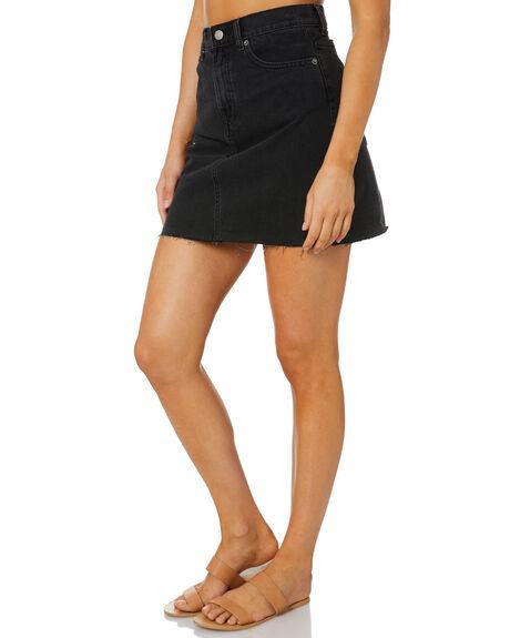 CHARCOAL BLACK WOMENS CLOTHING DR DENIM SKIRTS - 2030121T59