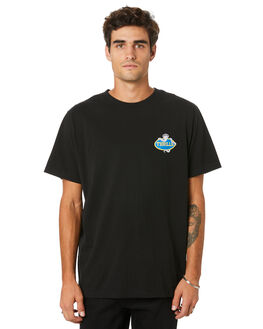 BLACK MENS CLOTHING THRILLS TEES - TW20-111BBLK