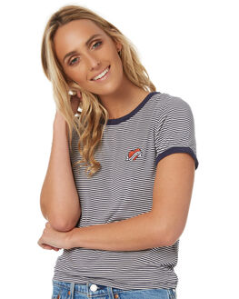 NAVY WHITE STRIPE WOMENS CLOTHING ALL ABOUT EVE TEES - 6401005STR