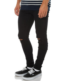 BLACK RIPPED KNEES MENS CLOTHING DR DENIM JEANS - 1610109-A03