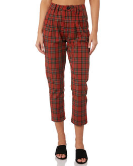 RED PLAID WOMENS CLOTHING THRILLS PANTS - WTW9-403HREDP