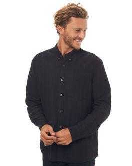 BLACK LINEN MENS CLOTHING NEUW SHIRTS - 32745954