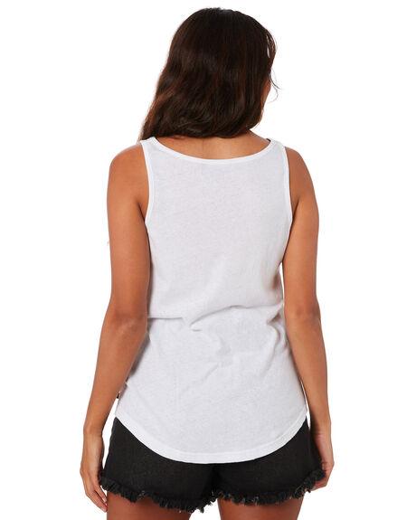 WHITE WOMENS CLOTHING RUSTY SINGLETS - TSL0582-WHT
