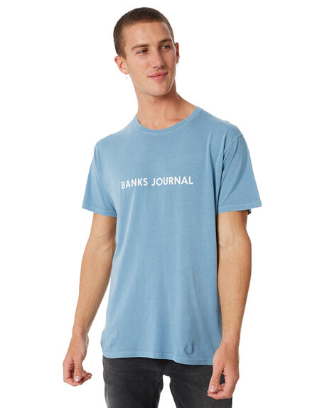 HEATHER BLUE MENS CLOTHING BANKS TEES - WTS0252HBL