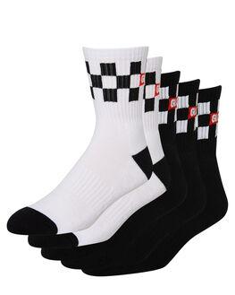 BLACK WHITE MENS CLOTHING GLOBE SOCKS + UNDERWEAR - GB71939015BLKWH