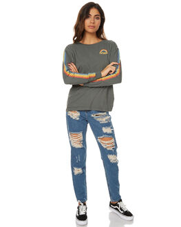DISTRESSED BLACK WOMENS CLOTHING AFENDS TEES - 50-10-009DSTBL