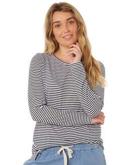BLACK WHITE WOMENS CLOTHING RIP CURL TEES - GTEUR10431