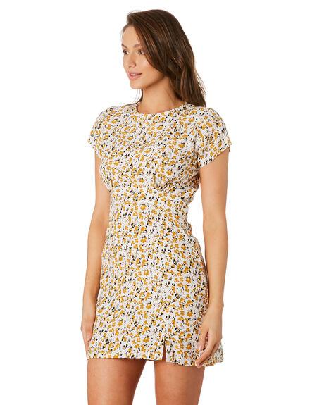 DESERT FLORAL YELLOW WOMENS CLOTHING RUE STIIC DRESSES - RWS-19-22-1DSRTY