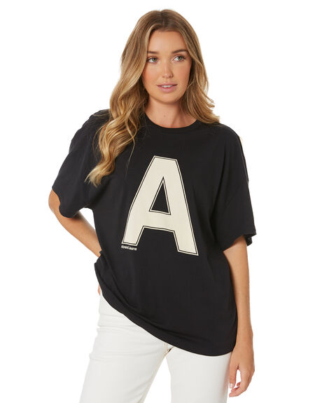 FADED BLACK WOMENS CLOTHING A.BRAND TEES - 71446-089