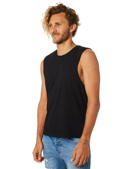 WASHED BLACK MENS CLOTHING SILENT THEORY SINGLETS - 4001003WBLK